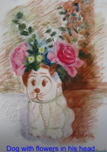 Dog with flowers in his head