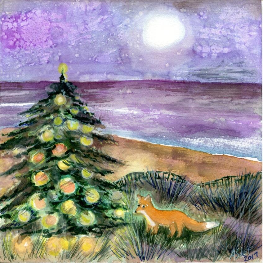 fox on a beach with a Christmas tree