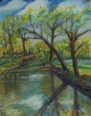 Passaic River, pastel