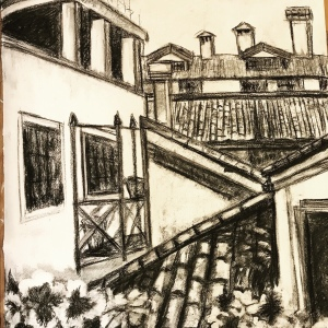 Venice rooftops charcoal drawing