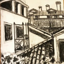 Roofs of Venice, charcoal on paper