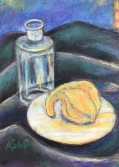 Gourd and bottle, pastel on paper