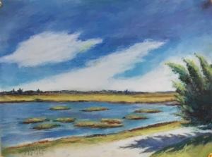 Pastel landscape salt Marshes New Jersey