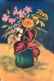 Still life pastel flowers and clues in a green vase