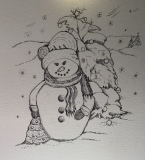 Snowman, pen and ink