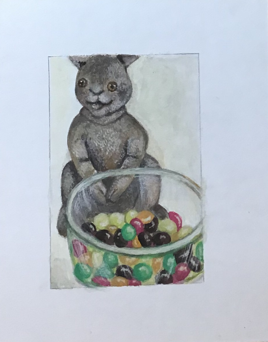 Painting of bunny toy and bowl of Skittles