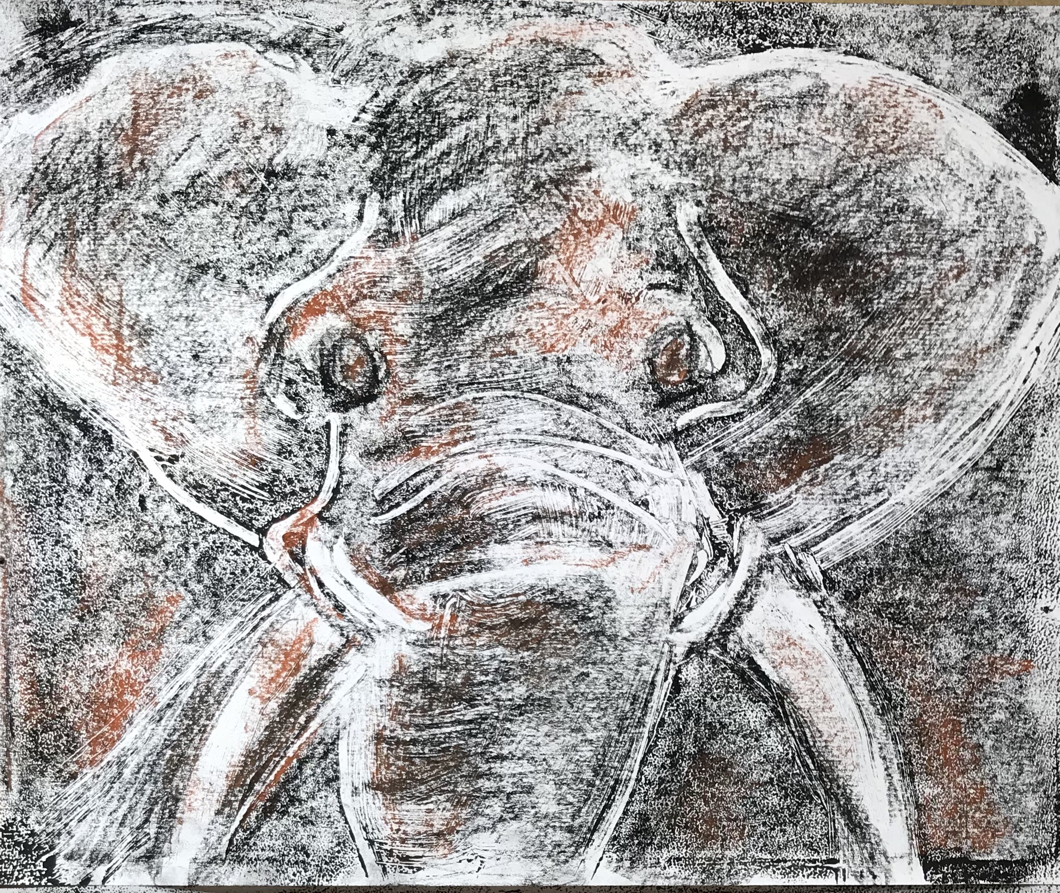 Monotype of an elephant