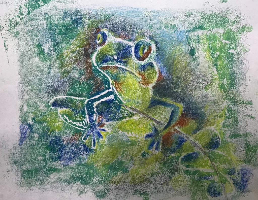 Mono print of a frog