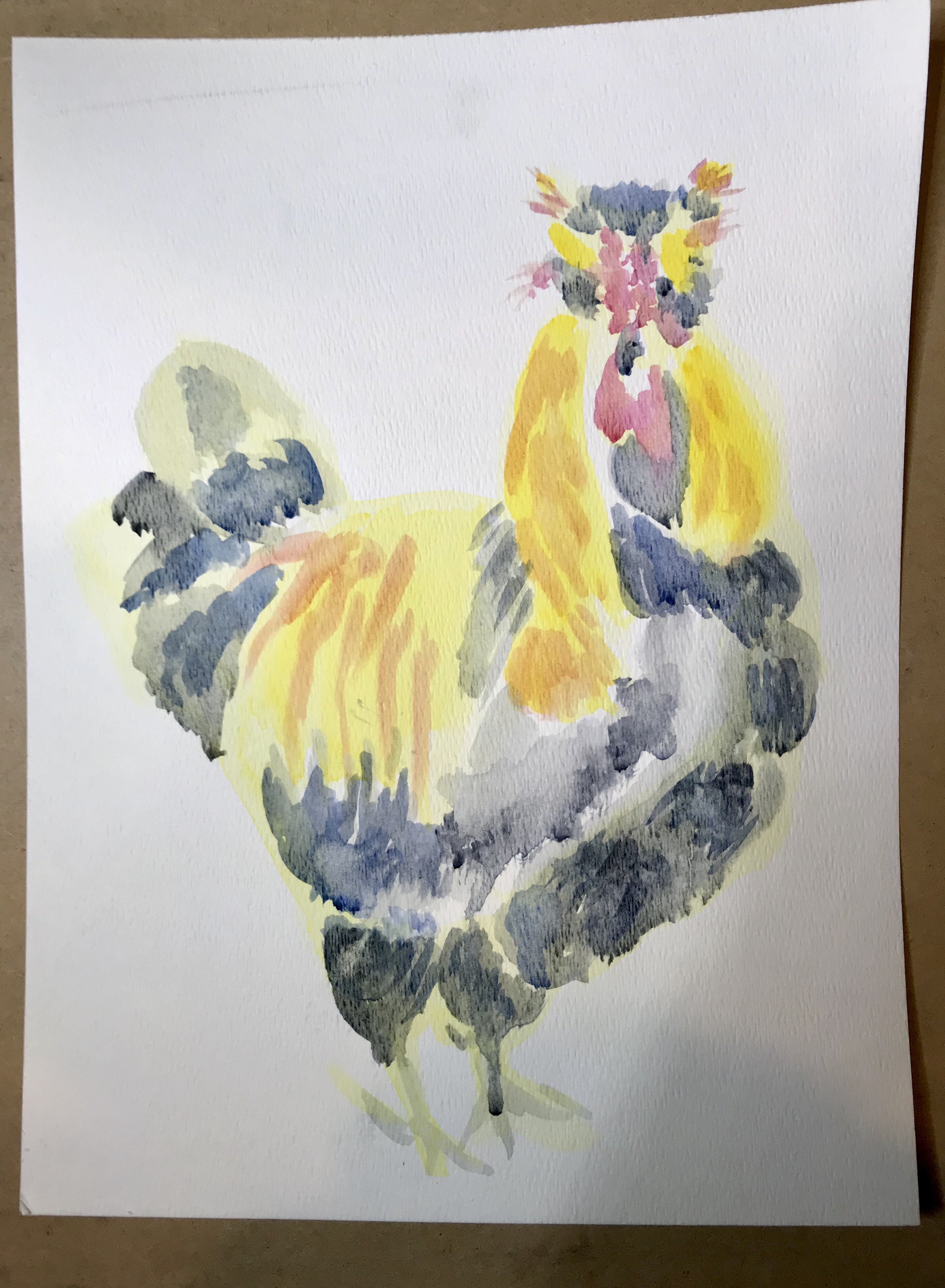 Rooster, watercolor