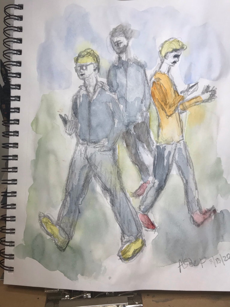 3 Walking people