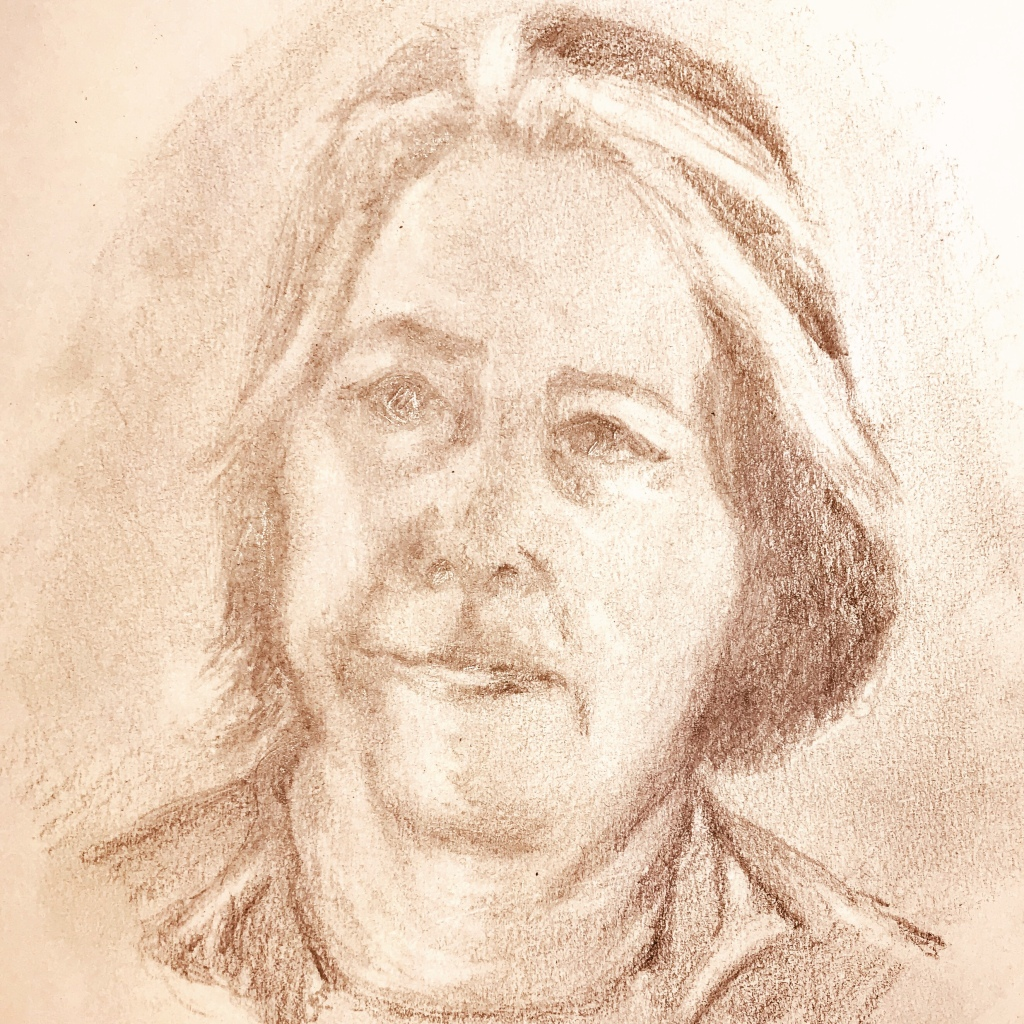 Self portrait of an older woman in pencil