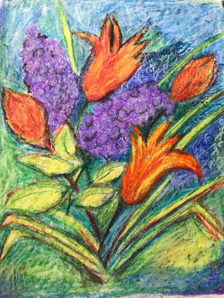 Tulips and lilac blossoms, oil pastel painting
