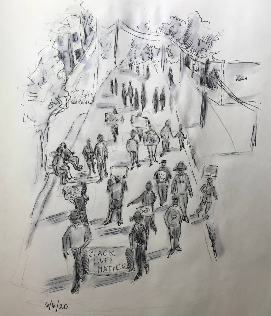 Small town protest drawing