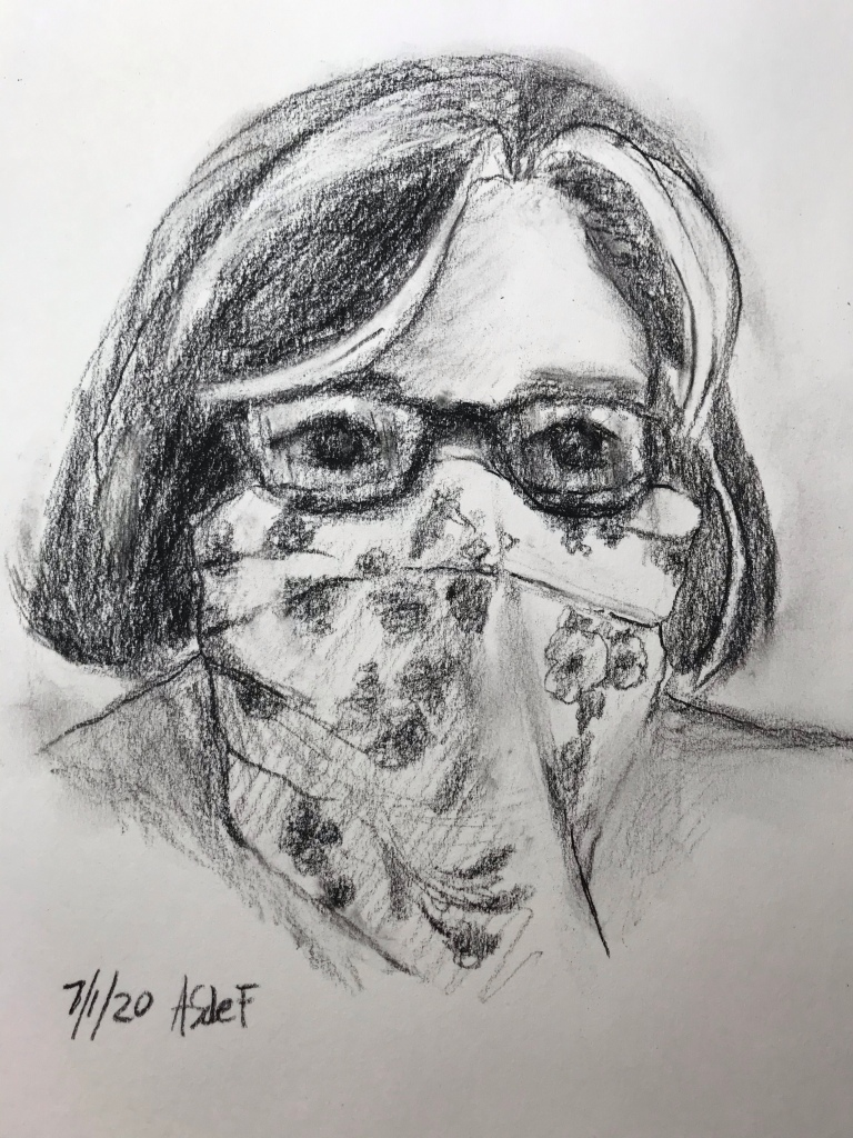 Charcoal Portrait of a woman in a bandana