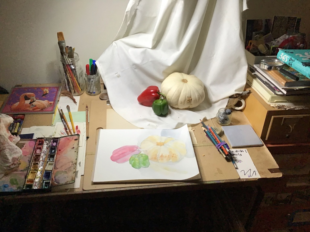 Still life set up on a drafting table