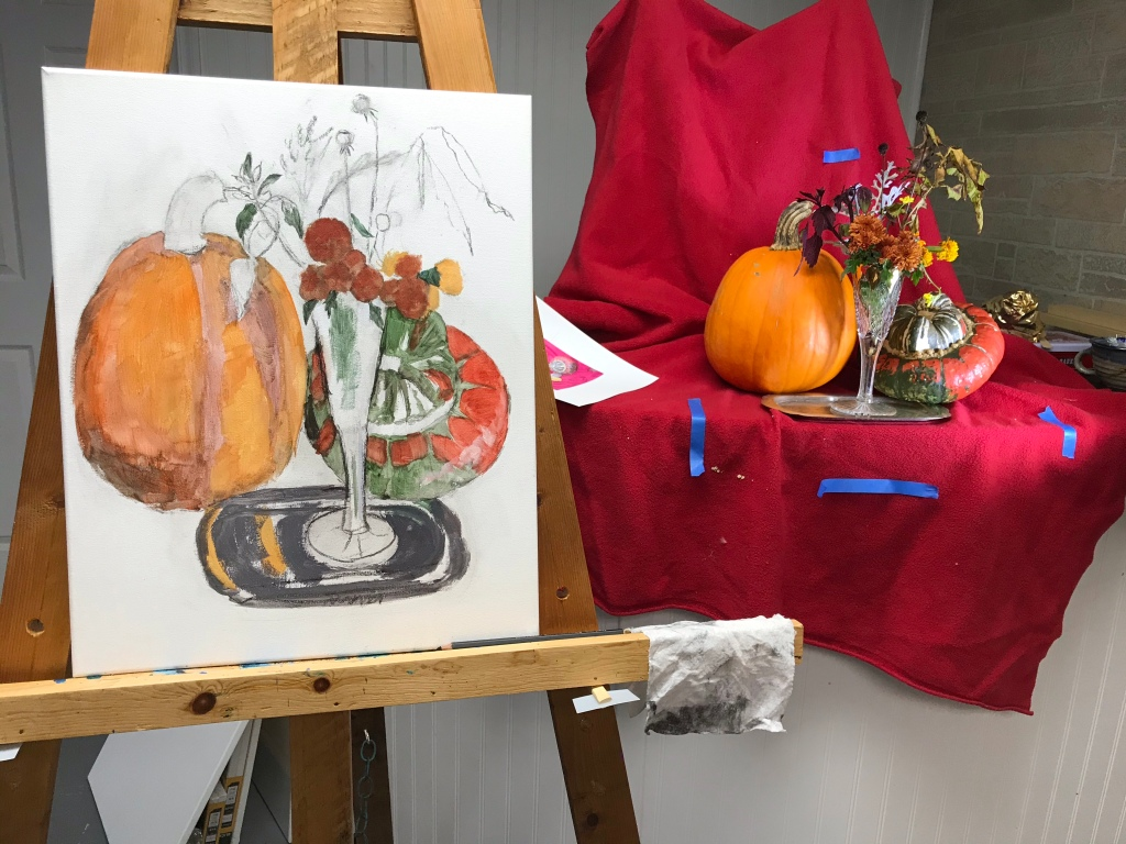 Fall still life underpainting, acrylics