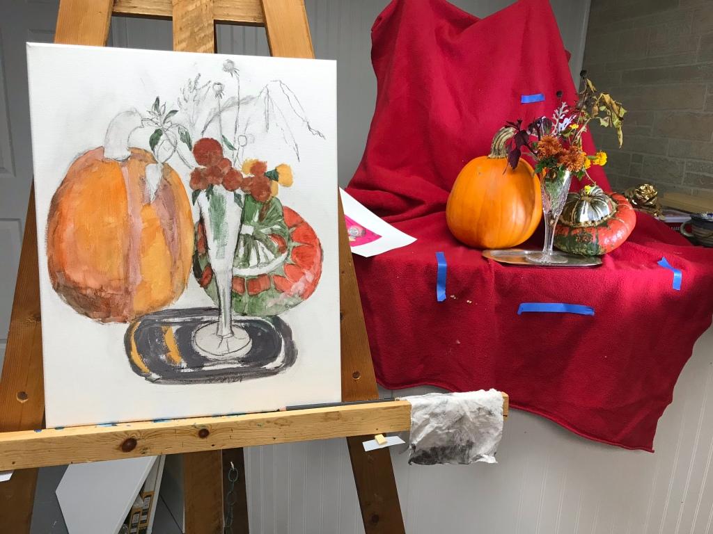 Fall still life underpainting, acrylics