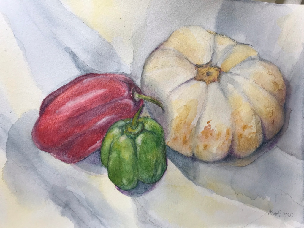 Watercolor still life of peppers and a white pumpkin