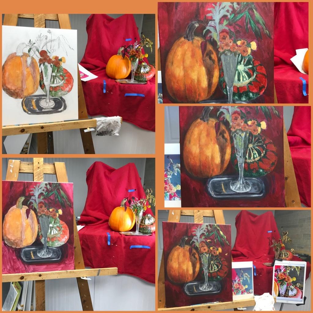Fall still life in progress, acrylics