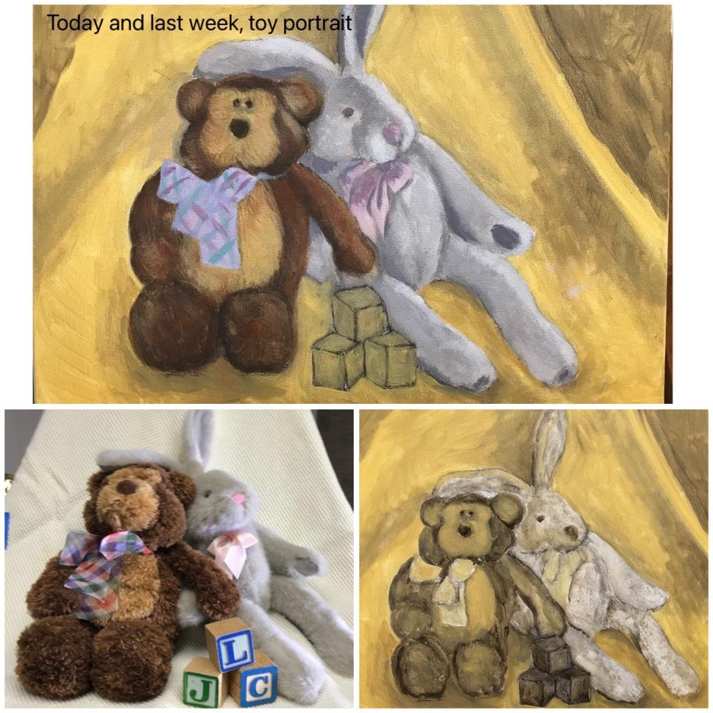 Still life with bunny and bear